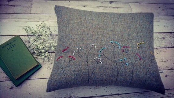 Hand Crafted Harris Tweed floral cushion cover