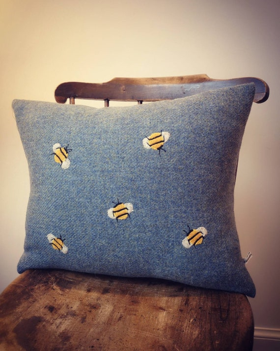 NEW Hand Crafted Harris Tweed bee embroidered cushion cover