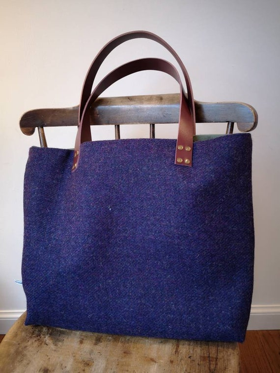 NEW Hand Crafted deep purple Harris Tweed tote bag with real leather handles