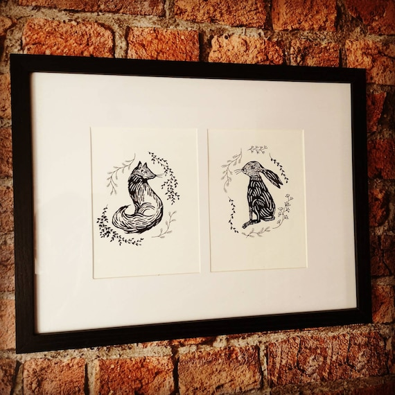 Hand drawn black and white original fox and hare drawing picture