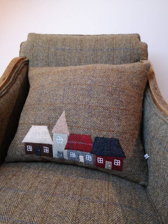 New Hand crafted Harris Tweed Town House Design embroidered cushion cover.