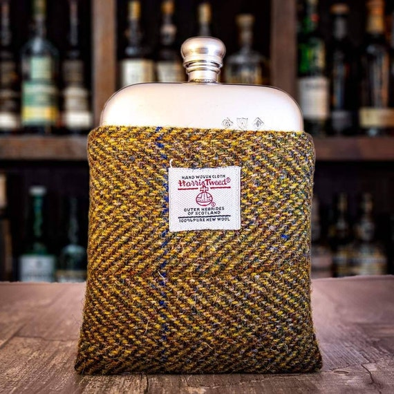Pewter hip flask with Harris Tweed and velvet casing