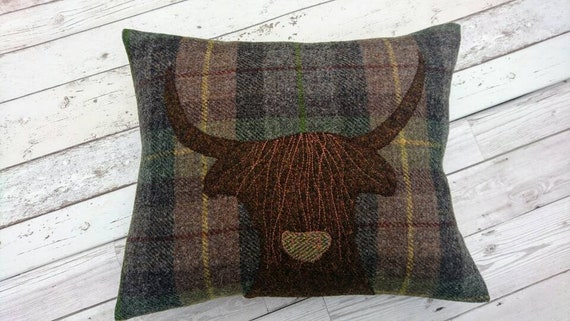 Hand Crafted Harris Tweed Highland Cow embroidered Cushion cover