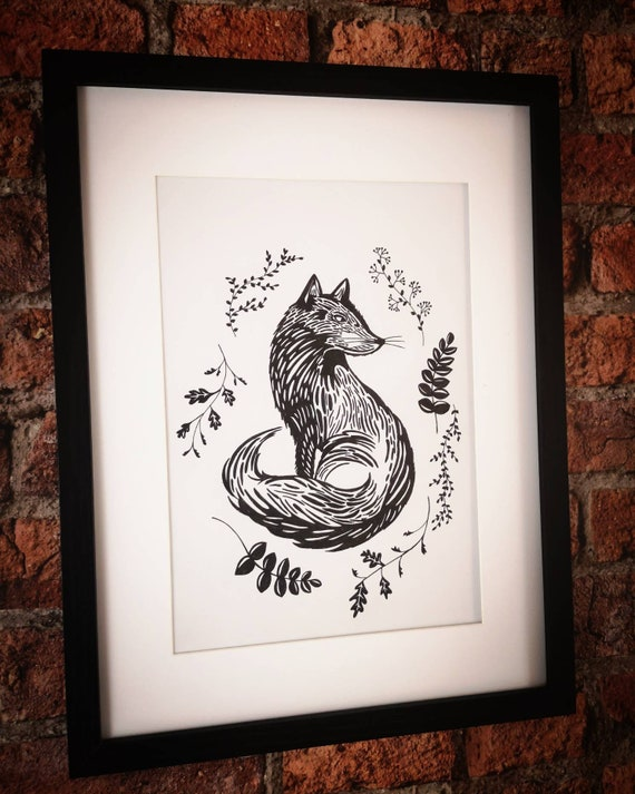Hand drawn black and white original fox drawing picture in a frame