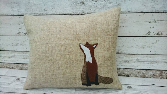 Hand Crafted Harris Tweed fox cushion cover