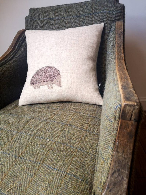 NEW Hand Crafted Harris Tweed hedgehog embroidered cushion cover