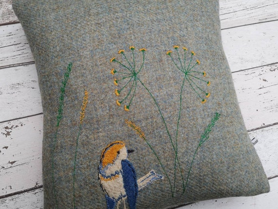Hand Crafted Harris Tweed little bird embroidered cushion cover