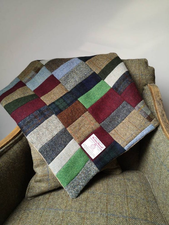Hand Crafted small rustic patchwork Harris Tweed rug blanket