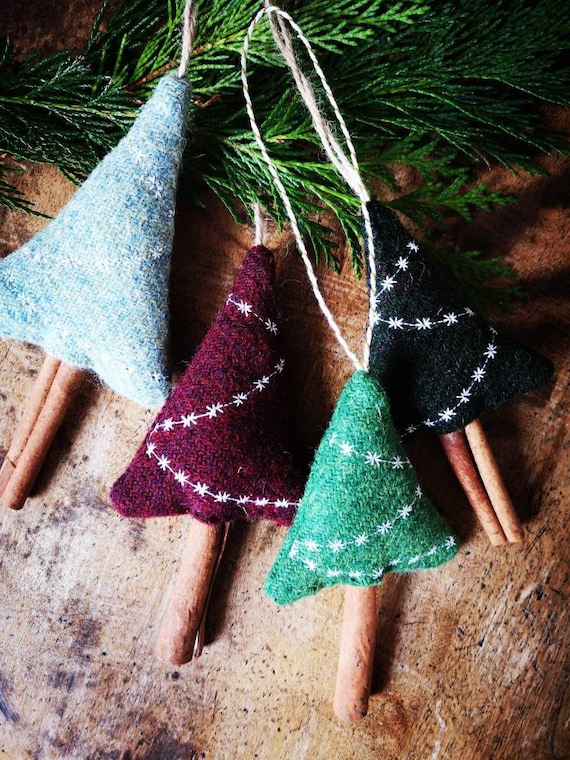 Hand crafted Harris Tweed Christmas tree hanging decoration