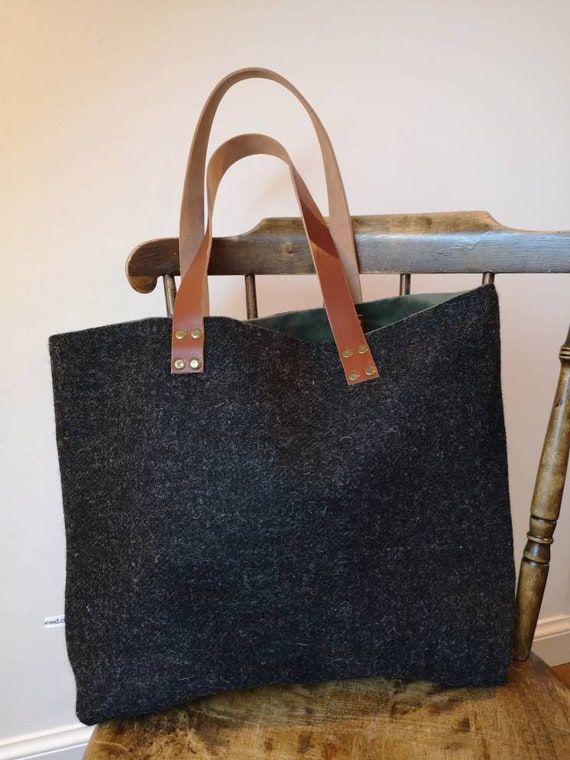 Hand Crafted charcoal grey Harris Tweed tote bag with real leather handles