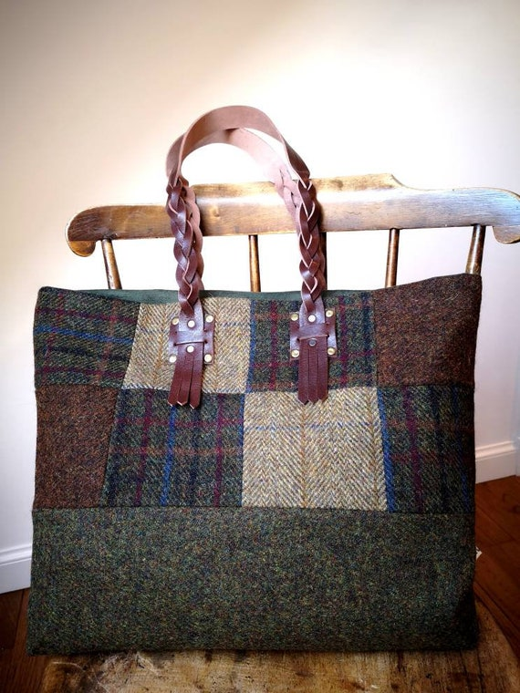 NEW big Hand Crafted Harris Tweed tote bag with real leather handles