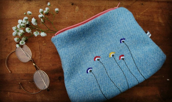 Hand Crafted Harris Tweed embroidered purse, cosmetic bag