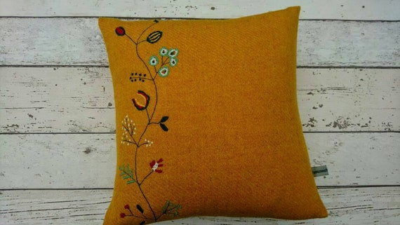 Hand Crafted Harris Tweed embroidered cushion cover