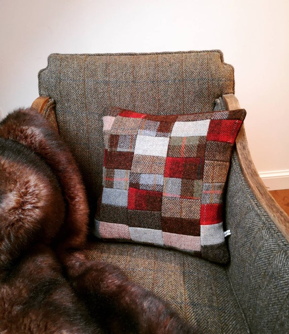 NEW Hand Crafted Harris Tweed patchwork Cushion cover