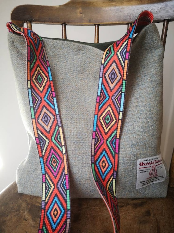 Hand Crafted Harris Tweed tote bag with decorative strap