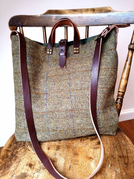 Hand Crafted Harris Tweed tote bag with real leather straps