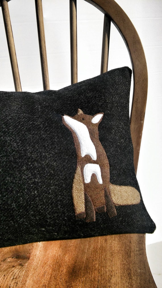 Hand Crafted Harris Tweed Fox embroidered Cushion Cover