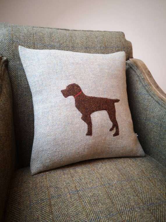 Hand Crafted Harris Tweed German pointer dog embroidered cushion cover
