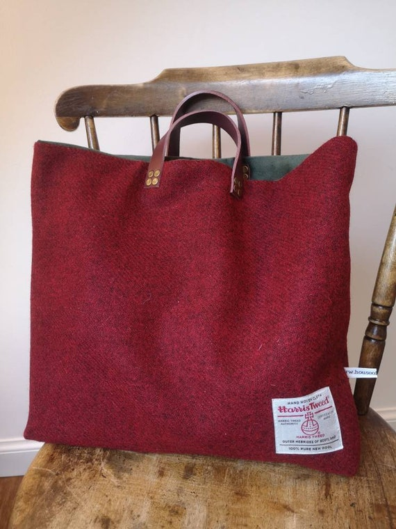 NEW Hand Crafted red Harris Tweed tote bag with real leather handles