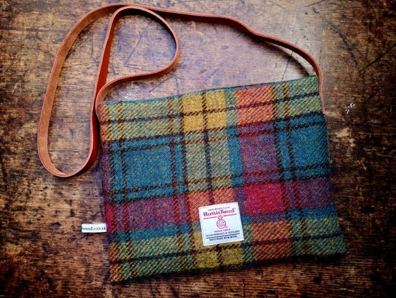 NEW Hand Crafted Harris Tweed bag with real leather strap