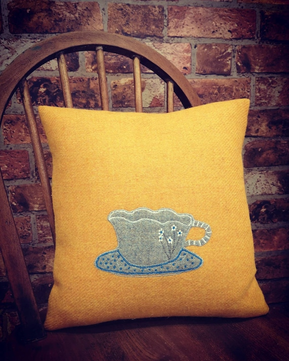 Hand Crafted Harris Tweed tea cup embroidered cushion cover