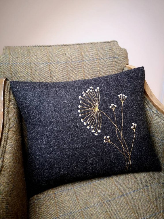 NEW Hand Crafted Harris Tweed charcoal grey embroidered cushion cover