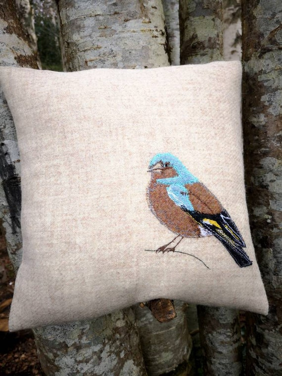NEW Hand Crafted Harris Tweed bird chaffinch embroidered cushion cover