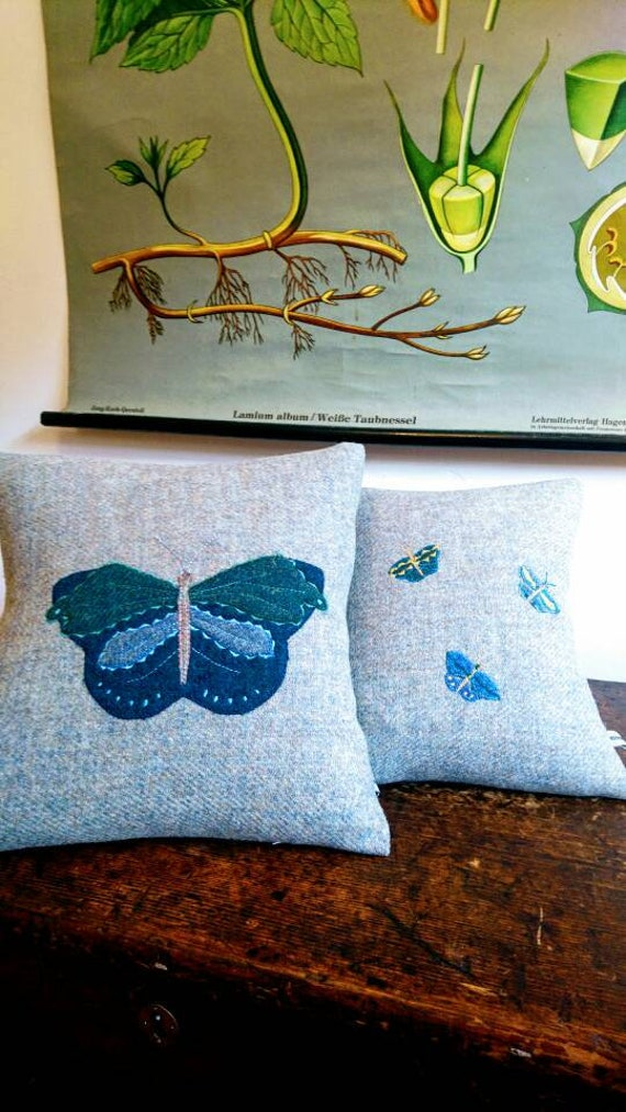 SALE Hand Crafted Harris Tweed grey butterfly embeoidered cushion cover