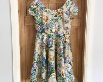 Circle skirt dress, special occasion dress, full skirt dress, vintage fabric dress, party dress, unique dress, christmas dress