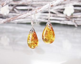 18cda73f0 Poland Baltic Amber Earrings, Honey Baltic Amber Earrings, Tear Drop Amber  Earrings, Inclusion Fossil, Sterling Silver Earrings