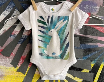 Rabbit Bodysuit, Bunny Baby Gift, Hand Painted Newborn Clothes, Jungle Rabbit Shower Gift, Unique Cotton Gift, Gender Neutral Baby Fashion