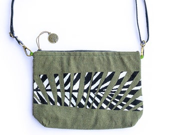 Boho Crossbody Purse, Canvas Shoulder Bag, Colour Block Pouch