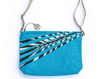 Turquoise Canvas Bag, Small Shoulder Purse, Boho Crossbody Bag