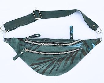Unisex Fanny Pack, Unique Hand Painted Waist Bag, Eco Friendly Vegan Bum Bag, Palm Leaf Painting, Canvas Bag, Bauchtasche, Gift for Him