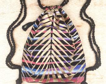 Unique Gift for Women, Female Vegan MacBook Bag, Canvas Painting Drawstring Backpack, Original Designer Rucksack, Gift for Her