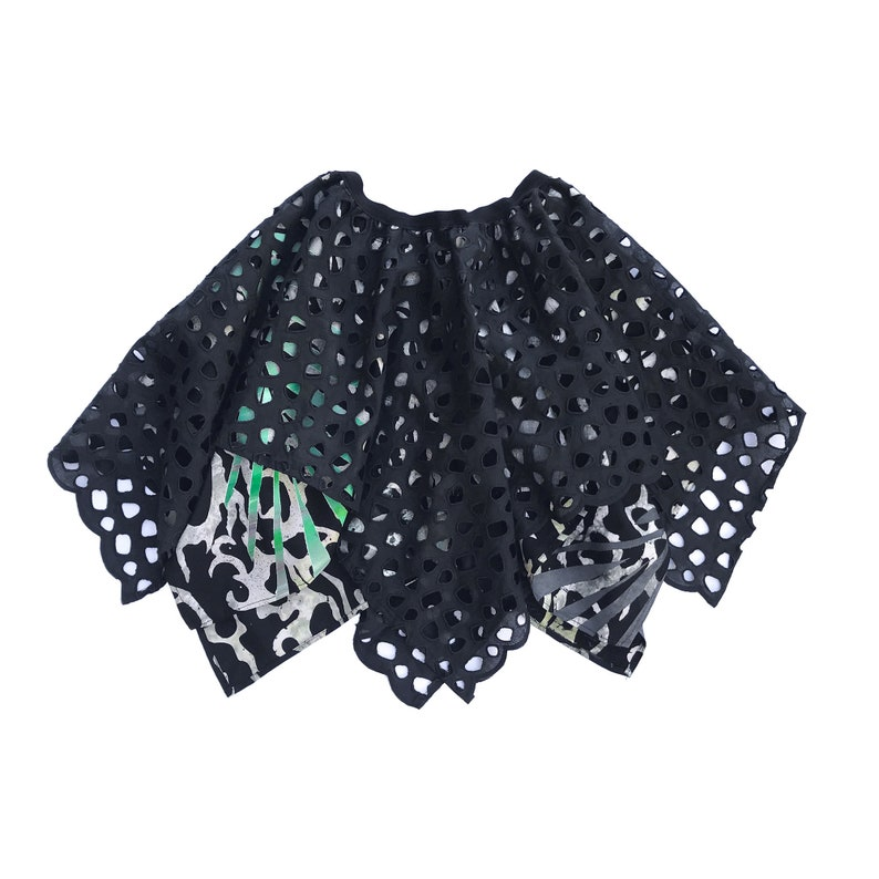 Extravagant Black Pixie Skirt Hand Painted Batik Layered image 0