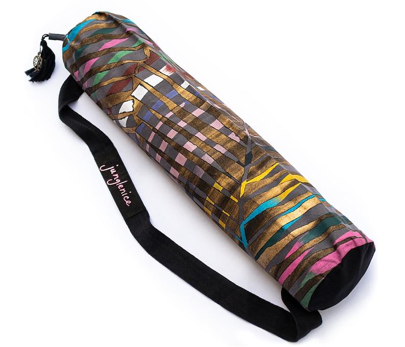 Eco Yoga Mat Bag Hand Painted Boho Yoga Bag image 1