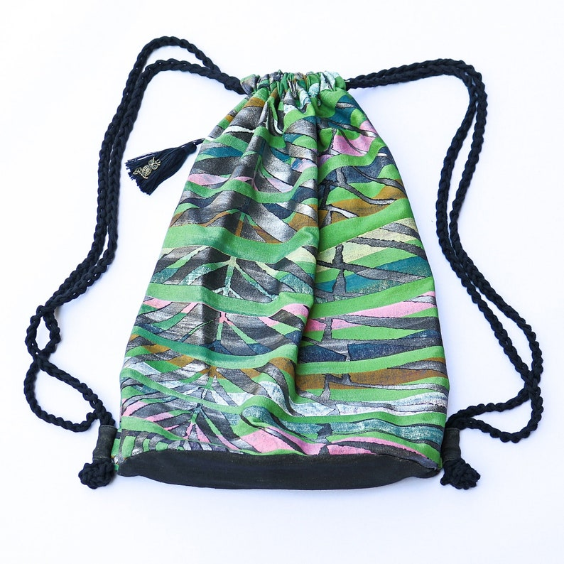 Eco Friendly Drawstring Backpack Oversized Unique Vegan Yoga image 0
