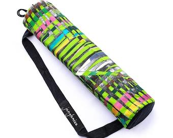 Yoga Mat Bag, Rainbow Jungle Painting, Green Eco Friendly Natural Drawstring Bag, Psy Silver Hand Painted Palm Leaf, Boho Vegan Yoga Bag