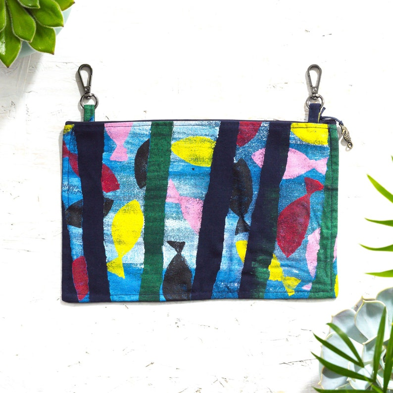 Unique Belt Loop Clutch Hand Painted Bag Festival Small Hip image 0