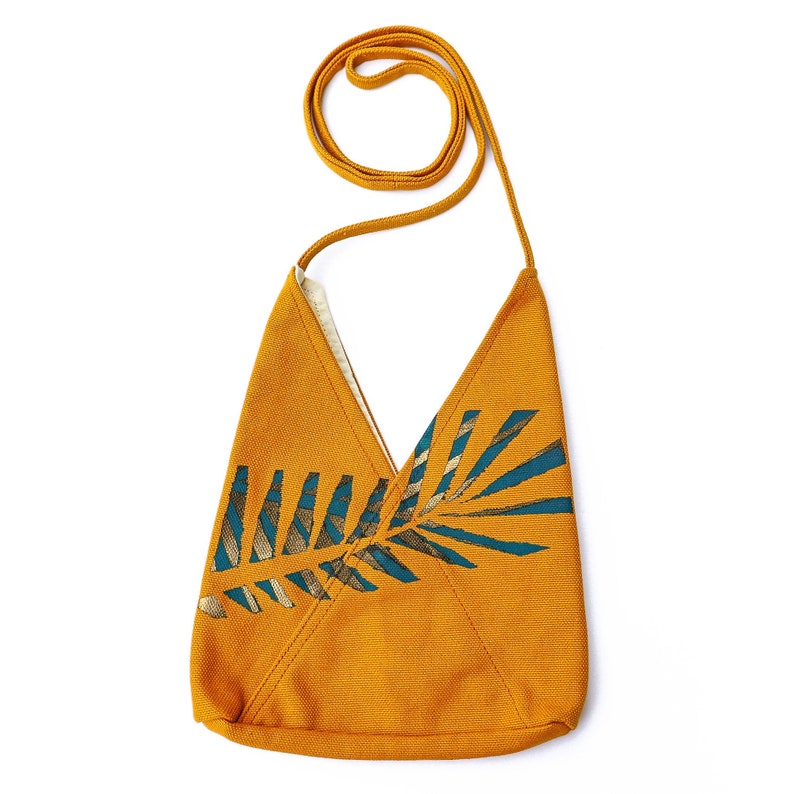 Yellow Hand Painted Triangle Purse Unique Crossbody Bag image 0