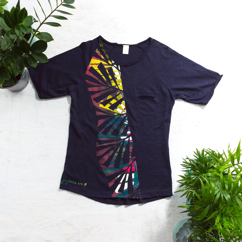Hand Painted T-Shirt Palm Leaf Print Tropical Clothing image 0