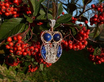 Wire Wrapping Lapis Lazuli and Crystal OWL pendant
