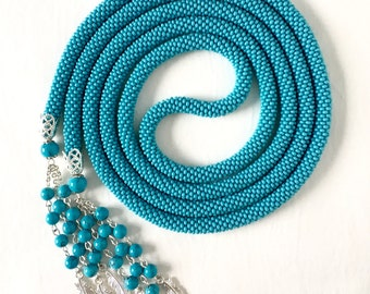 Turquoise Long Beaded Crochet Rope Necklace, Beaded Lariat Necklace