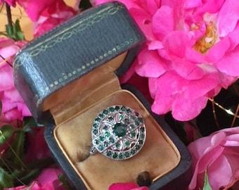 Historical emerald green garnet ring, Belle Epoque antique platinum beauty