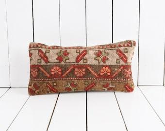 Anatolian kilim pillow Patterned Kilim red 12x24 lumbar pillow  Turkish kilim pillow Bohemian pillow  Ethnic pillow Home decor No 1246