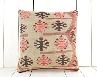 16x16 kilim pillow, turkish kilim pillow, turkish pillow, vintage pillow, decorative pillow, pillow, bohemian pillow,  kilim cushion cover