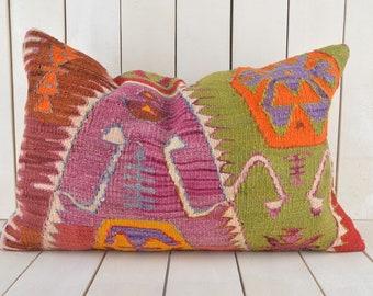 16x24 Decorative Kilim Pillow, Handmade Kilim Pillow, Vintage Kilim Pillow, Kilim Pillow Cover, Turkish Kilim Pillow, Kilim Cushion Cover