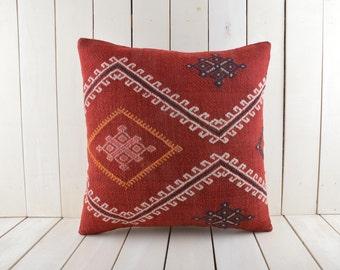 Turkish Kilim pillow, 20x20 inch, 50x50 cm kilim pillow cover, home decor, decorative throw pillow, turkish kilim pillow, home decor, pillow