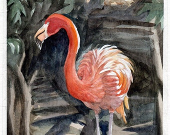 Flamingo by the River ORIGINAL Watercolor Painting // Art // Watercolor Painting // Original Painting // coworker gift // best friend gift